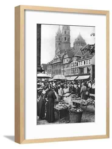 The Market Place at Worms Cathedral, Worms, Germany, 1922-Donald Mcleish-Framed Art Print