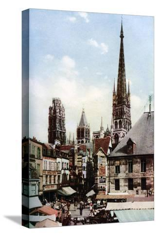 Rouen Cathedral, Normandy, France, C1930S-Donald Mcleish-Stretched Canvas Print