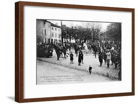 Entry of the French Foreign Legion into Chateau-Salins, Moselle, France, 17 November 1918-C Bergeret-Framed Art Print
