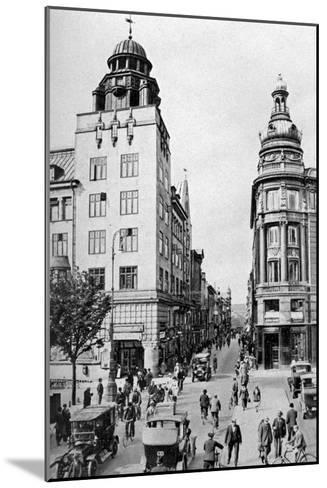 Street, Copenhagen, Denmark, C1922-Edward Galloway-Mounted Giclee Print