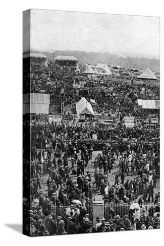 Crowds on Derby Day, Epsom Downs, Surrey, C1922-Horace Walter Nicholls-Stretched Canvas Print