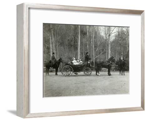Tsar Nicholas II of Russia with His Family in the Park of Tsarskoye Selo, Russia, 1900s-K von Hahn-Framed Art Print