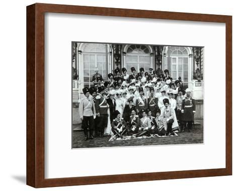 Russian Imperial Family Outside the Catherine Palace, Tsarskoye Selo, Russia, Early 20th Century-K von Hahn-Framed Art Print