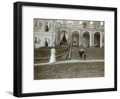 Tsarina Alexandra Fyodorovna with Tsarevich Alexei of Russia, C1907-C1910-K von Hahn-Framed Art Print