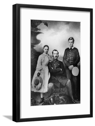 Tsar Alexander II of Russia with His Daughter Maria and Son Alexei, 1863-Ivan Fyodorovich Alexandrovsky-Framed Art Print