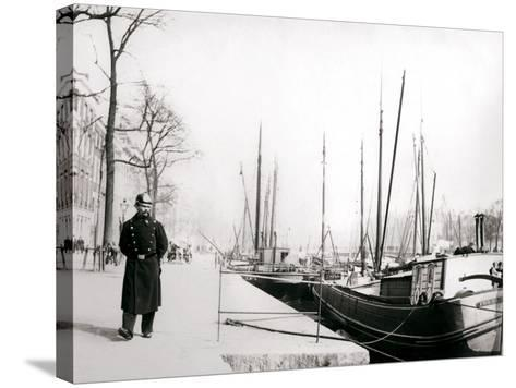 Policeman by a Canal, Rotterdam, 1898-James Batkin-Stretched Canvas Print