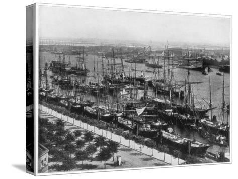 Hamburg Harbour, Germany, Late 19th Century-John L Stoddard-Stretched Canvas Print