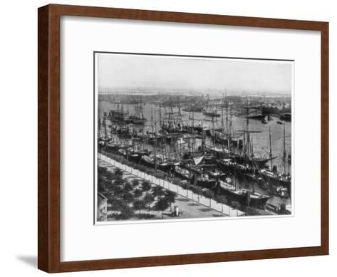 Hamburg Harbour, Germany, Late 19th Century-John L Stoddard-Framed Art Print