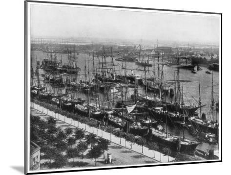 Hamburg Harbour, Germany, Late 19th Century-John L Stoddard-Mounted Giclee Print