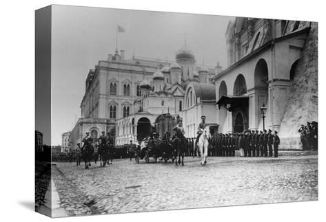 Tsar Nicholas II Reviewing the Parade of the Pupils of Moscow in the Kremlin, Russia, 1912-K von Hahn-Stretched Canvas Print