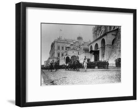 Tsar Nicholas II Reviewing the Parade of the Pupils of Moscow in the Kremlin, Russia, 1912-K von Hahn-Framed Art Print