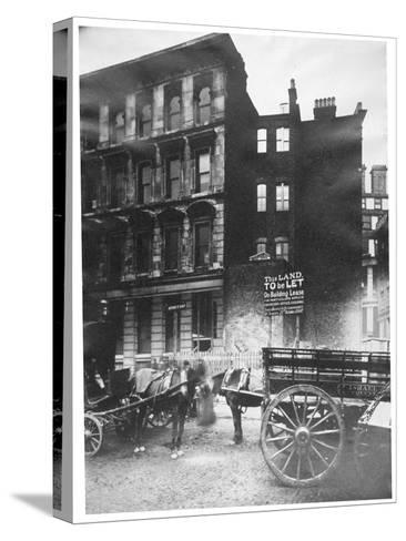 View of Land to Let in Arthur Street East with Two Horse-Drawn Carts in Front, City of London, 1887-Henry Dixon-Stretched Canvas Print