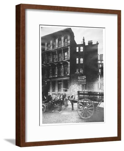 View of Land to Let in Arthur Street East with Two Horse-Drawn Carts in Front, City of London, 1887-Henry Dixon-Framed Art Print