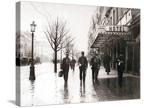 Guards on the Street, Brussels, 1898-James Batkin-Stretched Canvas Print
