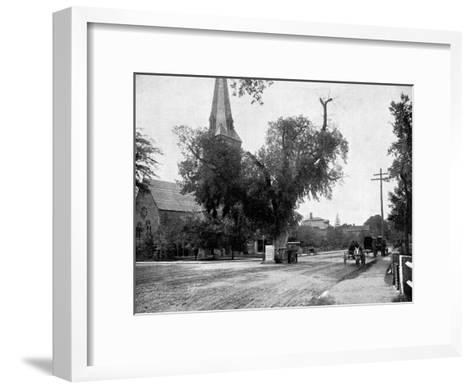 Washington Elm and Memorial Stone, Cambridge, Massachusetts, USA, 1893-John L Stoddard-Framed Art Print