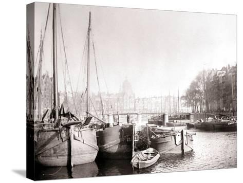 Canal Boats, Rotterdam, 1898-James Batkin-Stretched Canvas Print