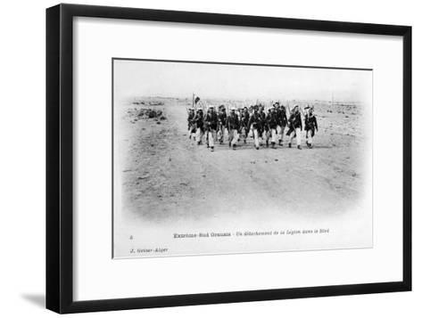 A Detachment of the French Foreign Legion in the Sahara Desert, Algeria, C1905-J Geiser-Framed Art Print
