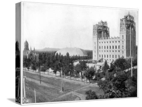 New Mormon Temple, Salt Lake City, Utah, Late 19th Century-John L Stoddard-Stretched Canvas Print