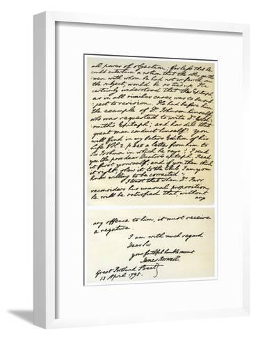 Letter from James Boswell to Edmond Malone, 13th April 1795-James Boswell-Framed Art Print