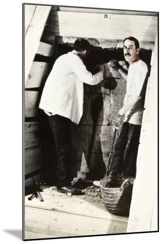 Howard Carter and a Colleague Excavating a Tomb in the Valley of the Kings, Egypt, 1922-Harry Burton-Mounted Giclee Print