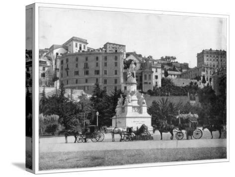 Statue of Columbus, Genoa, Italy, Late 19th Century-John L Stoddard-Stretched Canvas Print