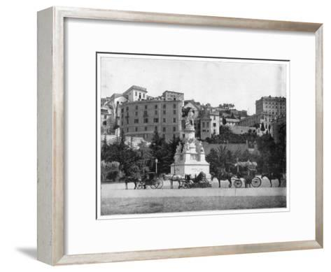 Statue of Columbus, Genoa, Italy, Late 19th Century-John L Stoddard-Framed Art Print