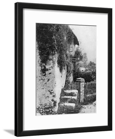 A Cottage with an Ancient 'Upping Stock, Cockington, Devon, 1924-1926-HJ Smith-Framed Art Print
