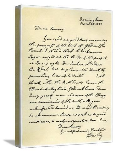 Letter from John Wesley to Samuel Bradburn, 25th March 1783-John Wesley-Stretched Canvas Print
