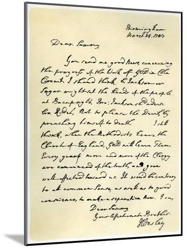 Letter from John Wesley to Samuel Bradburn, 25th March 1783-John Wesley-Mounted Giclee Print