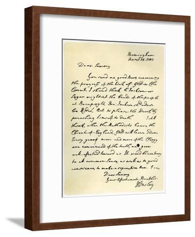 Letter from John Wesley to Samuel Bradburn, 25th March 1783-John Wesley-Framed Art Print