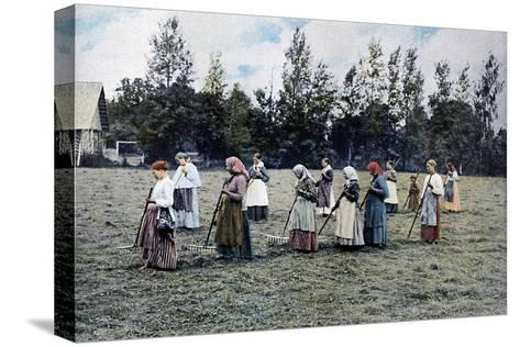 Haymaking around Moscow, Russia, C1890- Gillot-Stretched Canvas Print
