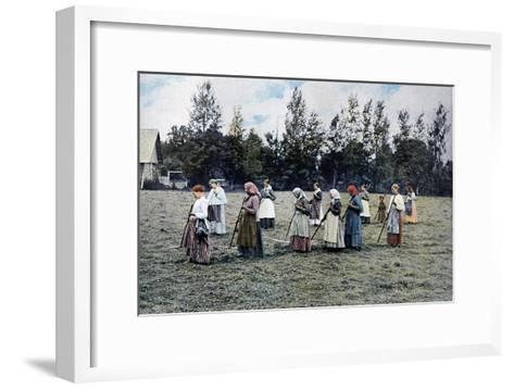 Haymaking around Moscow, Russia, C1890- Gillot-Framed Art Print