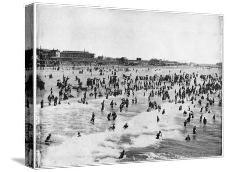 Beach at Atlantic City, New Jersey, USA, Late 19th Century-John L Stoddard-Stretched Canvas Print