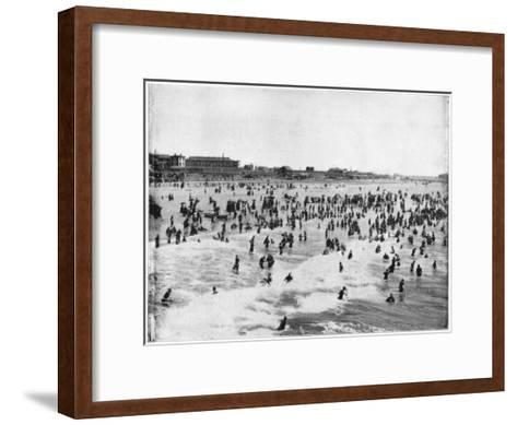Beach at Atlantic City, New Jersey, USA, Late 19th Century-John L Stoddard-Framed Art Print