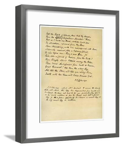 Hymn before Sunrise in the Vale of Chamouny-Samuel Taylor Coleridge-Framed Art Print