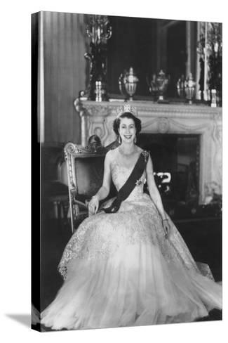 HM Queen Elizabeth II at Buckingham Palace, 12th March 1953-Sterling Henry Nahum Baron-Stretched Canvas Print