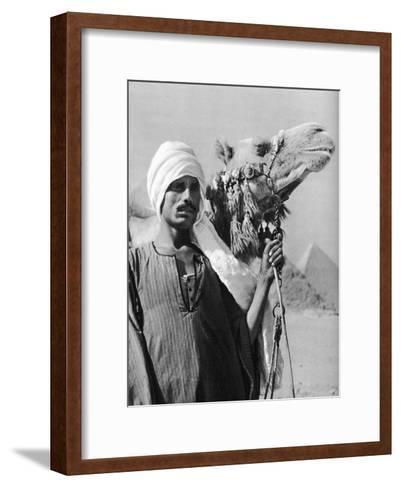 Cameldriver Near the Pyramids, Egypt, 1937-Martin Hurlimann-Framed Art Print