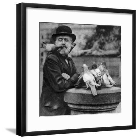 Pigeons of St Paul's with a Vagrant, London, 1926-1927-McLeish-Framed Art Print