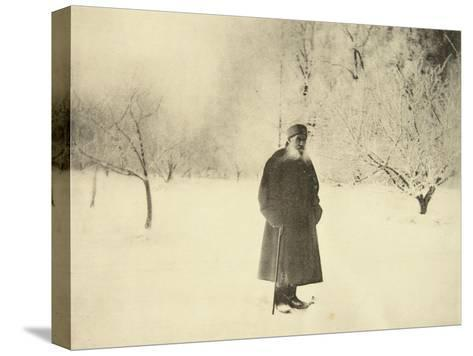Russian Author Leo Tolstoy Taking a Winter Walk, 1900s-Sophia Tolstaya-Stretched Canvas Print