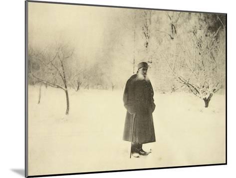Russian Author Leo Tolstoy Taking a Winter Walk, 1900s-Sophia Tolstaya-Mounted Giclee Print