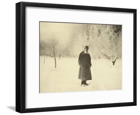 Russian Author Leo Tolstoy Taking a Winter Walk, 1900s-Sophia Tolstaya-Framed Art Print