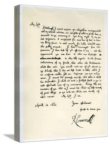 Letter from Richard Cromwell, Lord Protector, to General George Monck, 18th April 1660-Richard Cromwell-Stretched Canvas Print