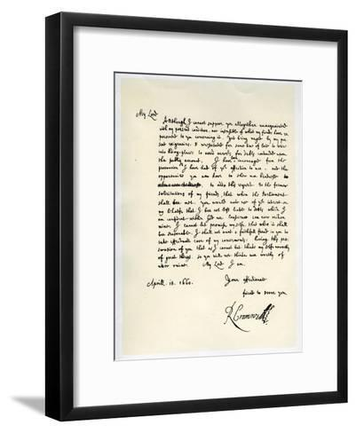 Letter from Richard Cromwell, Lord Protector, to General George Monck, 18th April 1660-Richard Cromwell-Framed Art Print