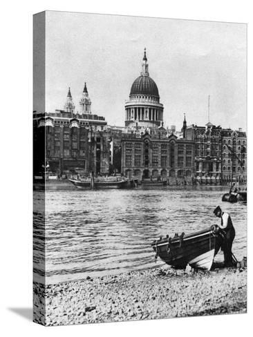 Thames Waterman and His Boat on the 'Beach' at Bankside, London, 1926-1927-McLeish-Stretched Canvas Print