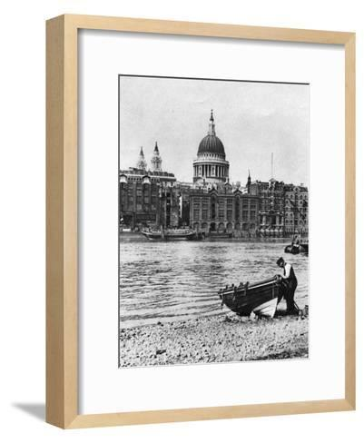 Thames Waterman and His Boat on the 'Beach' at Bankside, London, 1926-1927-McLeish-Framed Art Print
