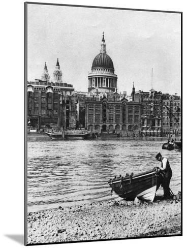 Thames Waterman and His Boat on the 'Beach' at Bankside, London, 1926-1927-McLeish-Mounted Giclee Print