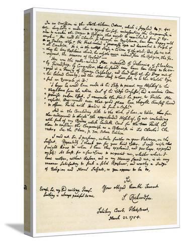 Letter from Samuel Richardson, 22nd March 1754-Samuel Richardson-Stretched Canvas Print