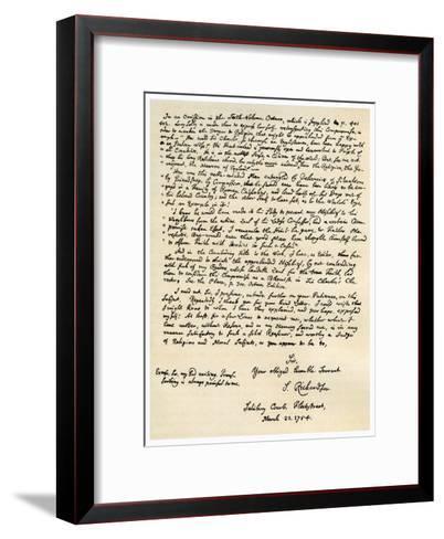Letter from Samuel Richardson, 22nd March 1754-Samuel Richardson-Framed Art Print