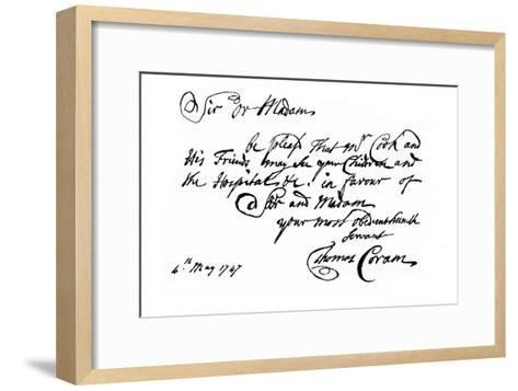 A Note from Thomas Coram, the Founder of the 'Foundling Hospital, 1747-Thomas Coram-Framed Art Print