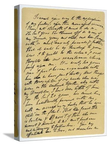 Letter from William Wordsworth on the Death of Samuel Taylor Coleridge, 29th July 1834-William Wordsworth-Stretched Canvas Print